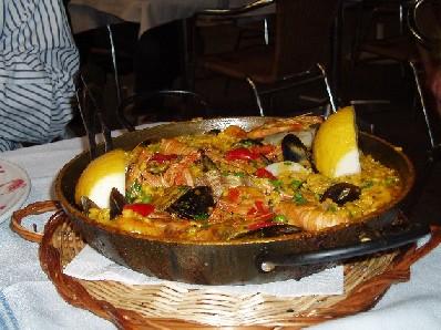 Paella per due persone nel ristorante Rey de la Gamba
